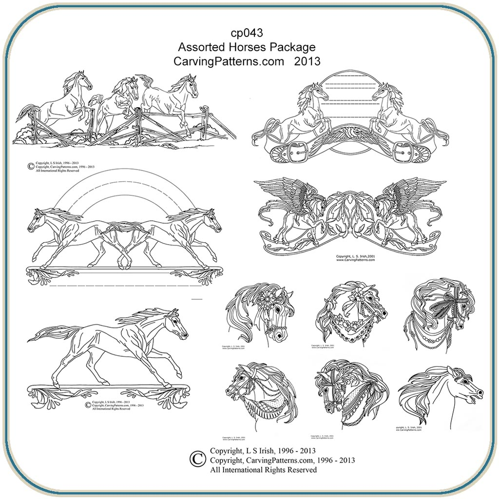 picture regarding Free Printable Intarsia Patterns named Diversified Horses Layouts