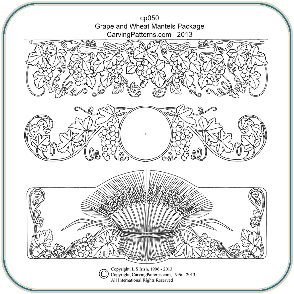 Grape wheat mantels patterns classic carving