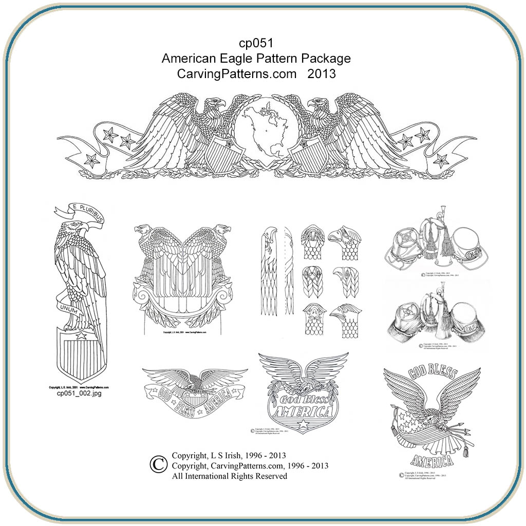 Eagle pattern for carving blueprints wood
