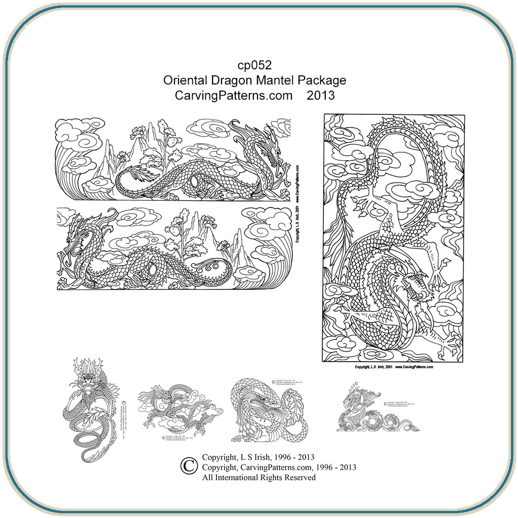 Oriental dragon mantel patterns classic carving