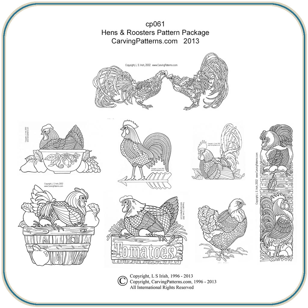 Deer Wood Burning Patterns Hens roosters & chickens wood