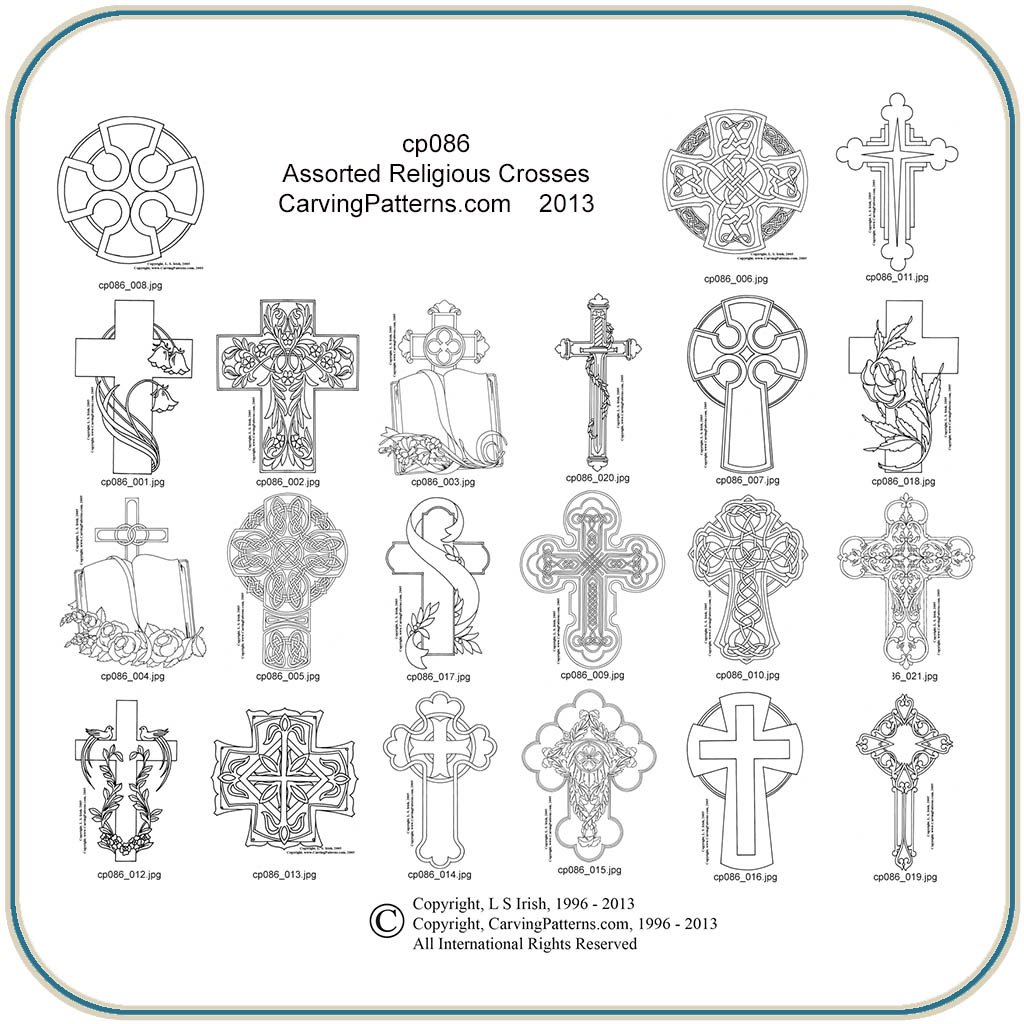 Assorted religious crosses patterns classic carving
