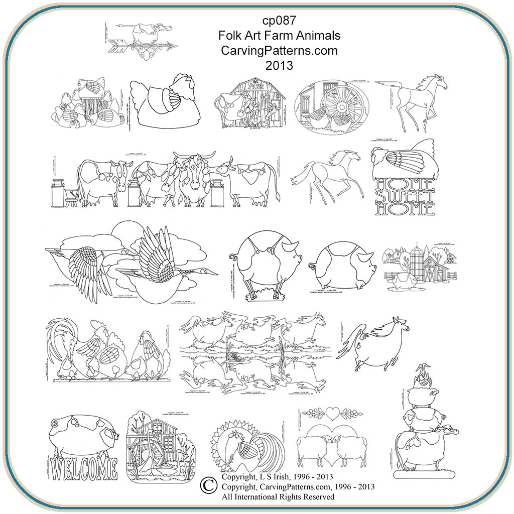 Farm animals folk art patterns classic carving