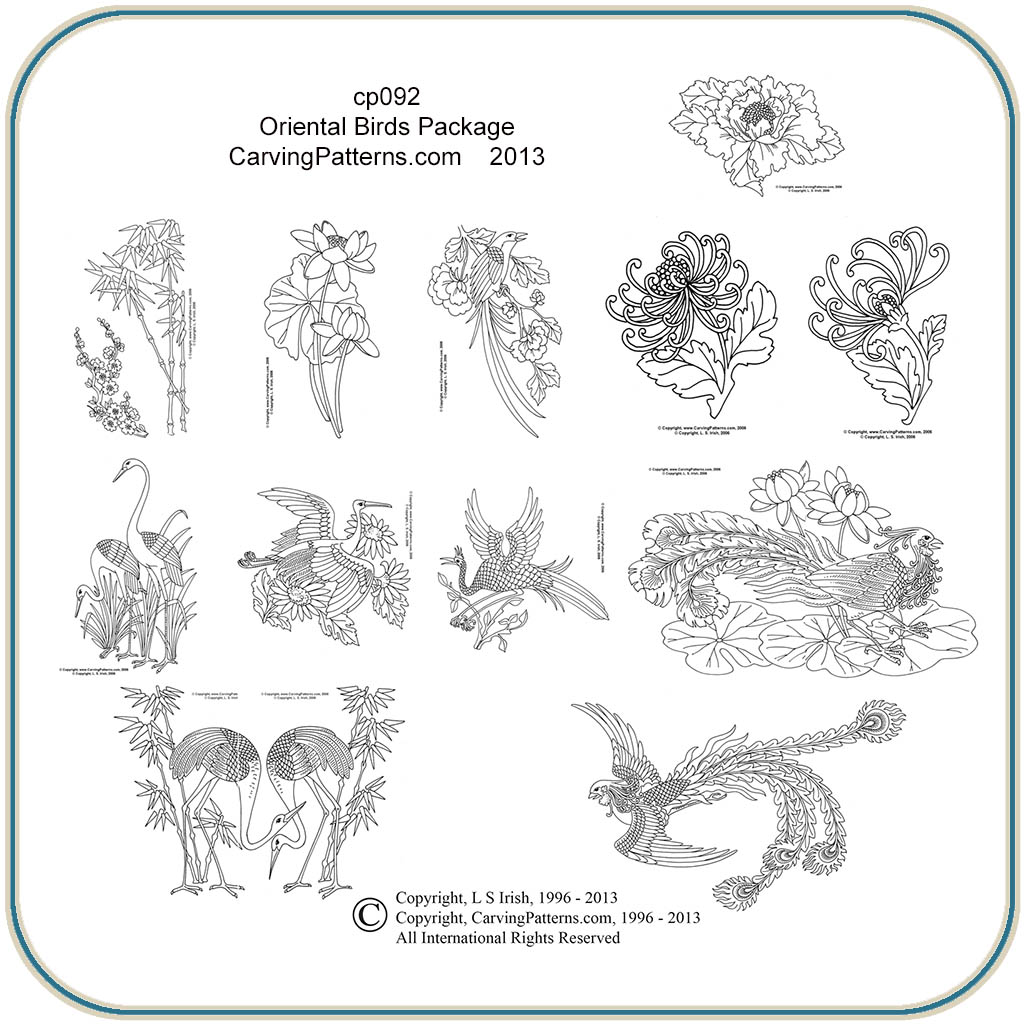 Oriental Birds Patterns Classic Carving Patterns