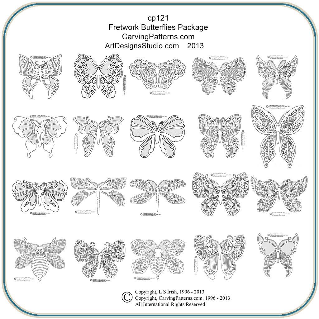Fretwork Butterflies Patterns – Classic Carving Patterns