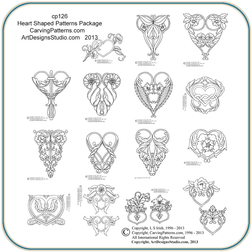 Heart shaped patterns classic carving