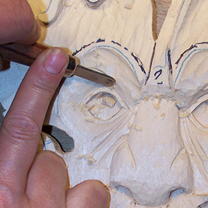 shaping stage of wood carving