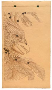 wood burned griffin color example