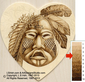 Tonal values in pyrography wood burnings