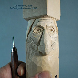 using a round gouge in wood carving