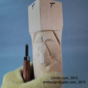 Carving eye lids in the Wood Spirit