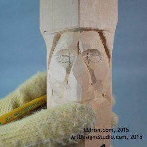 wood carving human eyes