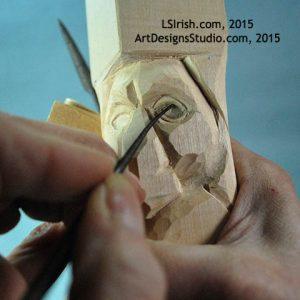 Carving the wood spirit eye