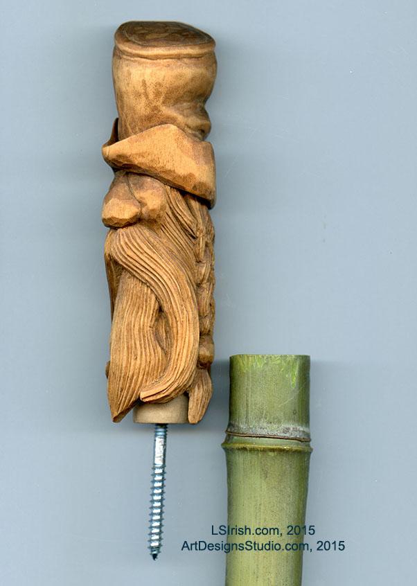 Wood spirit carving defining the beard classic