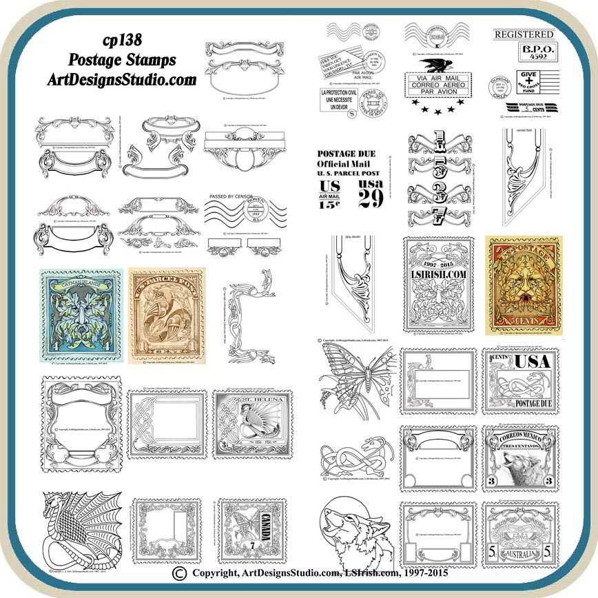 Postage Stamps Patterns Classic Carving Patterns