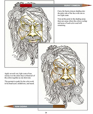Adult Coloring, Colored Pencil Portraits E-Book