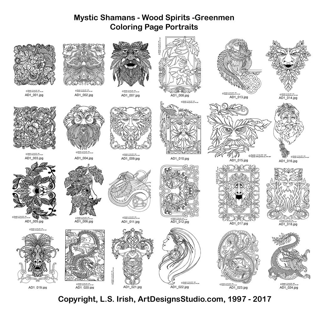 Adult coloring portraits e book u classic carving patterns
